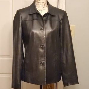 Ann Taylor Black Leather Jacket Button Up Sz Small